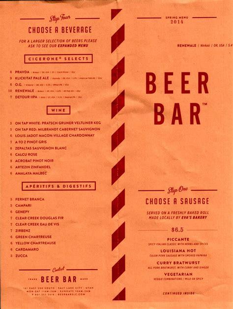 bar menu beer bar menu