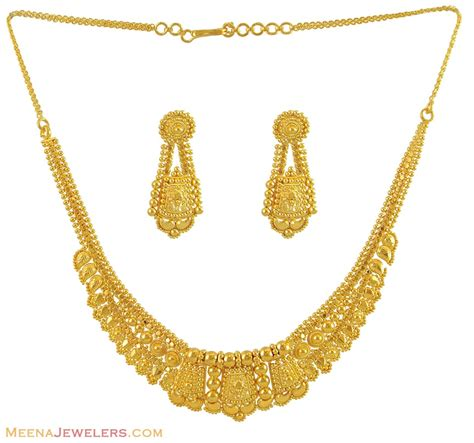 22k gold earrings designs 22k gold filigree necklace set stls10970 22k yellow