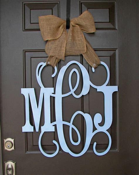 Initial Door Hangers by Wooden Monogram Door Hanger Blue Custom Initial Burlap Bow