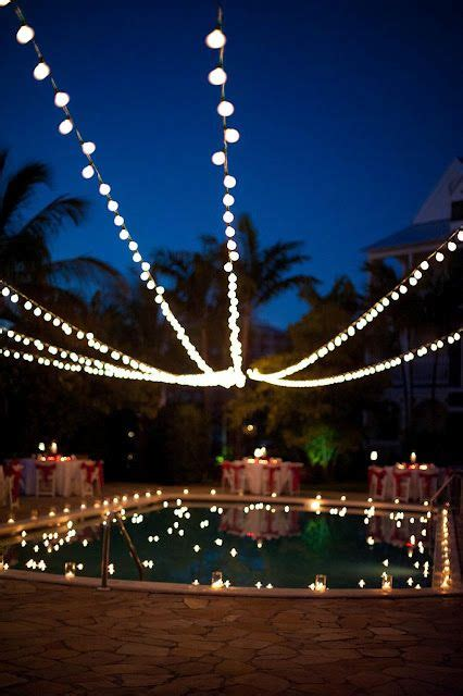String Lights Over The Pool Provide Beautiful Reflections String Lights Pool