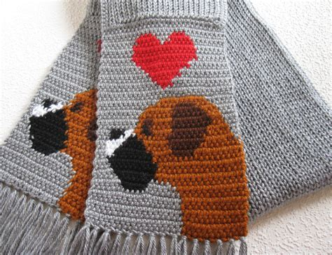 knitting pattern dog scarf gray boxer scarf grey crochet scarf with boxer dogs and red