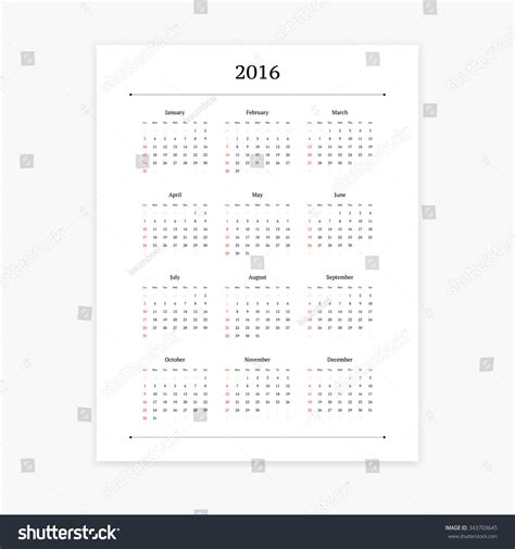 Simple Clean 2016 Calendar Vector Template Stock Vector 343703645 Shutterstock Orientation Calendar Template