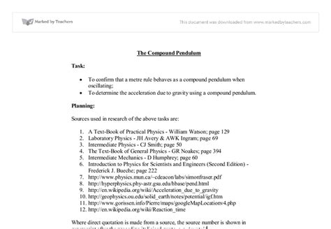 Pendulum Lab Report by Physics Pendulum Lab Report Hartford Ap Physics