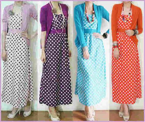 Dress Polkadot Bangkok capria outlet polkadot maxi dress cardi