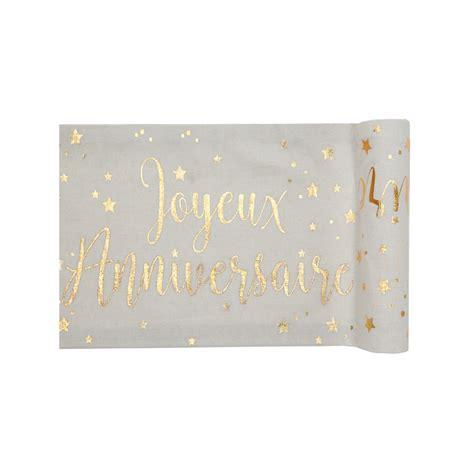 chemin de table joyeux anniversaire blanc et or