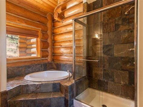 rustic log home bathroom cabin fever pinterest slate tile shower walls log cabin fever pinterest