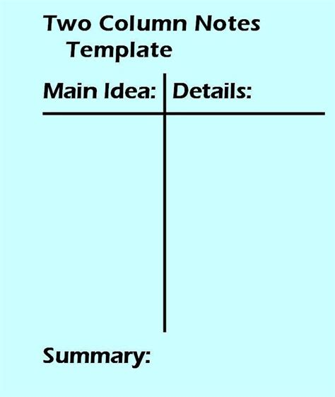 3 column notes template 2 column notes template worksheet two column notes