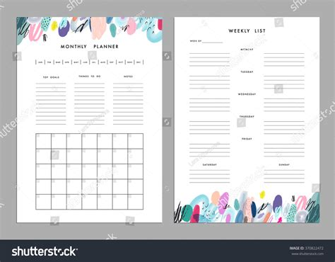 Monthly Planner Plus Weekly List Templates Stock Vector 370822472 Shutterstock Notes Plus Templates