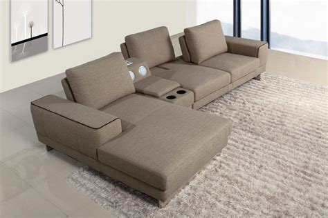 Gatsby Modern Fabric Sectional Sofa W Beverage Console Section Sofas