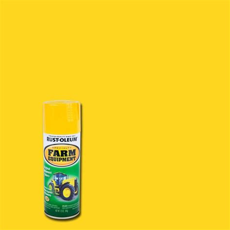 rust oleum specialty 12 oz yellow deere farm equipment spray paint 7443830 the home depot