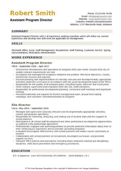 Program Director Resume by Assistant Program Director Resume Sles Qwikresume