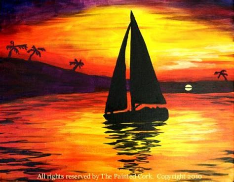 sailboat easy easy sailboat painting sunset sailboat silhouette wine