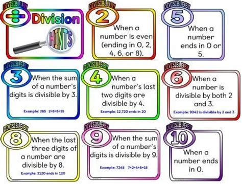 printable division poster free printable division hints posters how to tell or find