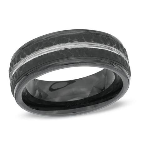 s 8 0mm comfort fit hammered black cobalt wedding band