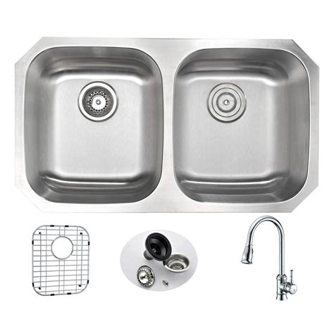 kitchen sink with faucet set anzzi undermount stainless steel 32 in bowl