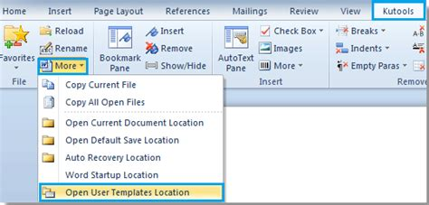 how to open user template location in word