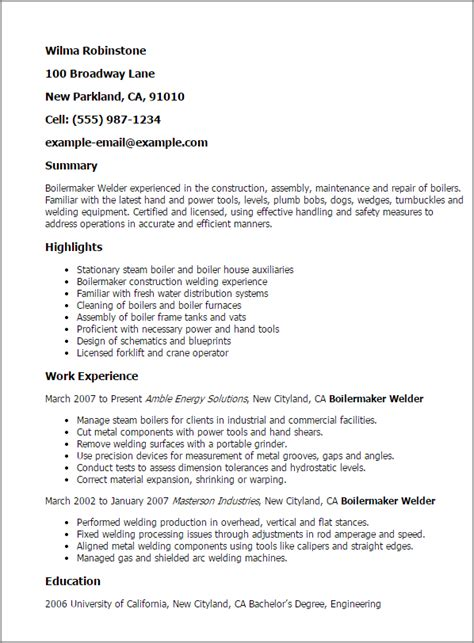 sle welder resume professional boilermaker welder templates to showcase your