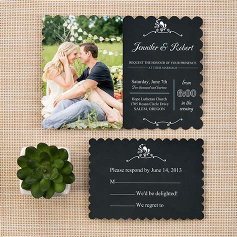 Wedding Invitation With Photo by Trending Bracket Rustic Chalkboard Wedding Invitations