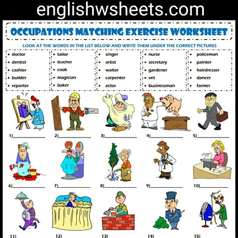 free printable english worksheets occupations jobs esl printable vocabulary matching exercise worksheet