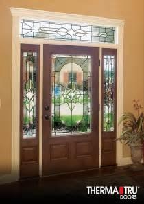 Therma Tru Exterior Doors Fiberglass Therma Tru Classic Craft Mahogany Collection Fiberglass Door With Arcadia Decorative Glass