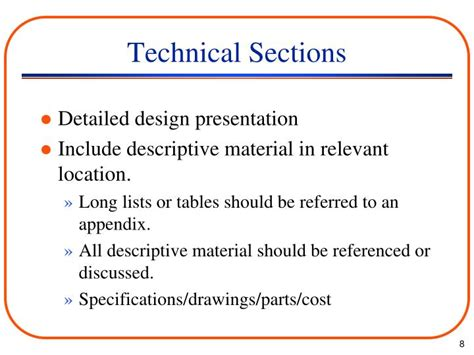 technical report sections ppt engineering report organization powerpoint