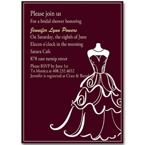 Invitation Sle For Chic Wedding Dress Templates Bridal Shower Invitation Ewbs007 As Low As 0 94