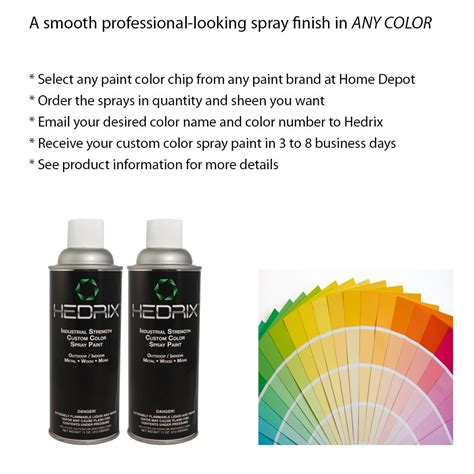 hedrix 11 oz match of any paint color low lustre custom color spray paint 2 pack ll02