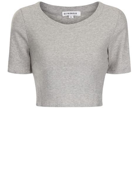 Top A Grey grey ribbed sleeve crop top