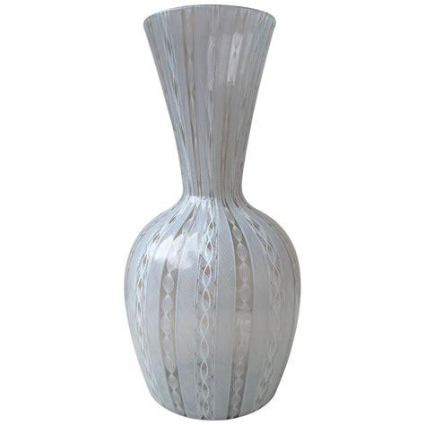 Venini Glass Vase by Venini Murano Glass Vase Quot Latticino Work Quot Three Lines
