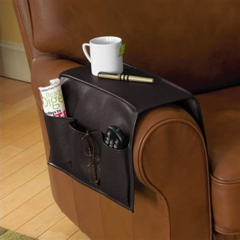 armchair caddy storage faux leather armrest caddy in bedside storage