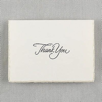 deckenle bronze ecru pearl deckle border thank you card with verse and