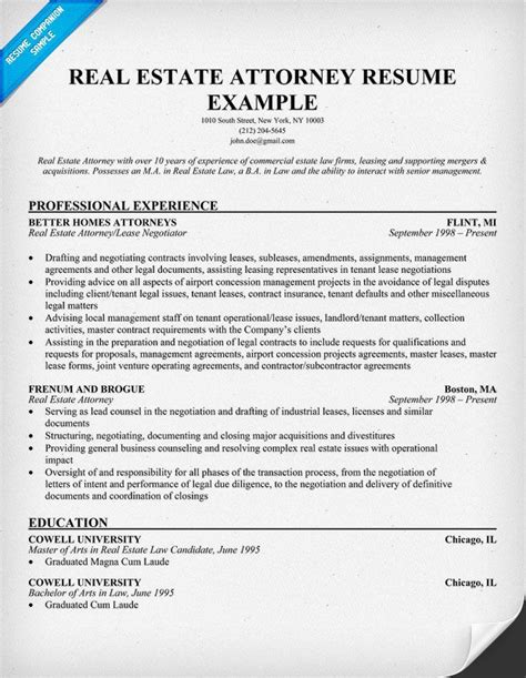 Real Estate Resume by Real Estate Attorney Resume Exle Resume Sles
