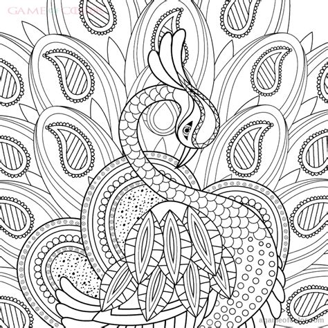 Peacock Coloring Kids Intricate Coloring Pages Printable 2