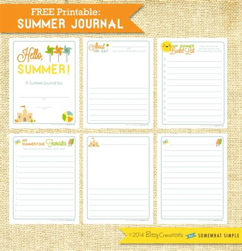 Printable Summer Journal Pages | free printable summer journal somewhat simple
