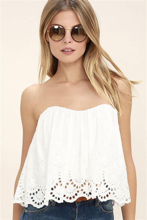46 Aqila Top White boho white top strapless top crop top eyelet top 46 00