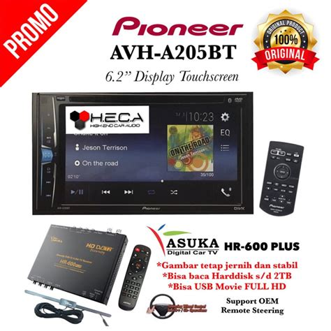 Tv Tuner Digital Untuk Mobil jual paket pioneer avh a205bt din tv tuner digital asuka hr 600 di lapak sin4r harapan