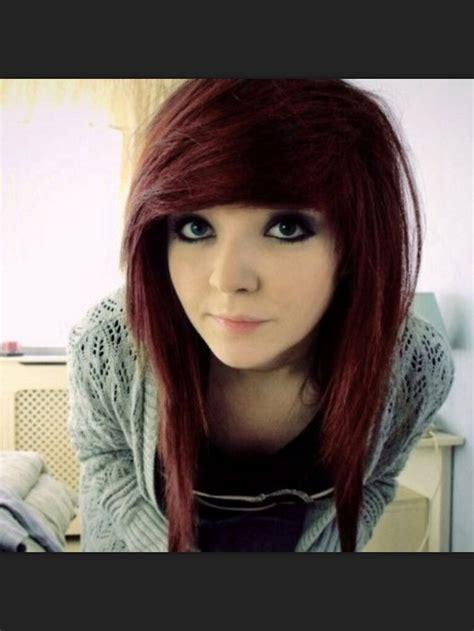 Comb It Forward Emo Look | dark red scene hair chop it cut it style it