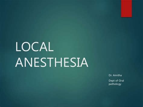 Local Dental Anethesia Detox by Local Anesthesia
