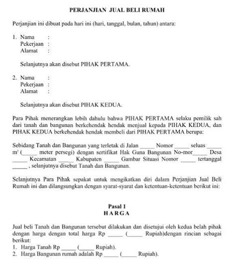 contoh surat resmi perjanjian jual beli rumah dan syarat