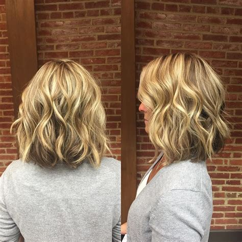 medium to short hairstyles with highlights and layers or stacked blonde wavy long bob with short layers medium length