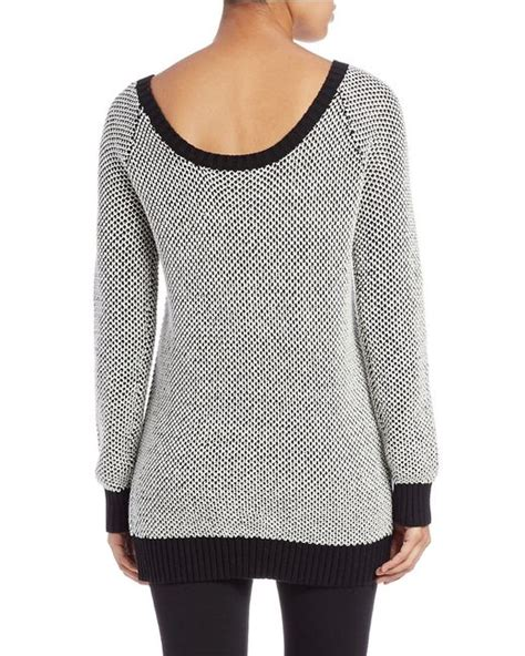 boat neck tunic sweater guess boat neck tunic sweater in black black white lyst