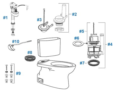 Toto Plumbing Parts by Toto Vespin Toilet Replacement Parts