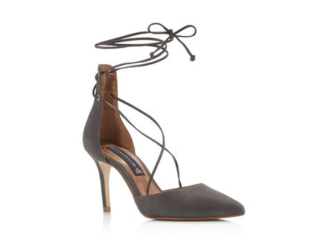 Wedges Boot Yy Coklat steven by steve madden spiceyy lace up d orsay pumps in gray lyst