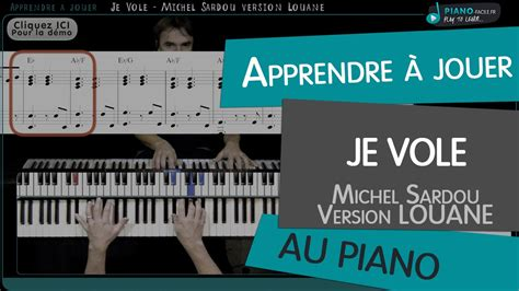 tutorial piano debutant apprendre je vole version louane michel sardou tuto