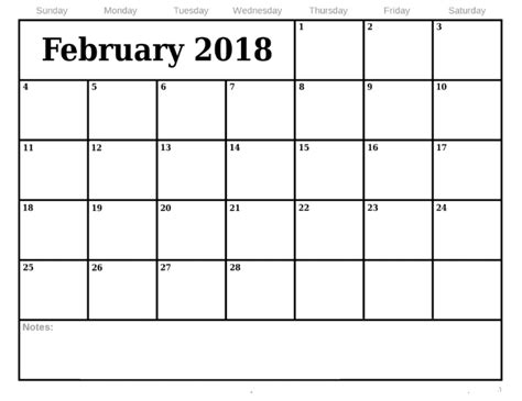 February Calendar Template 2018