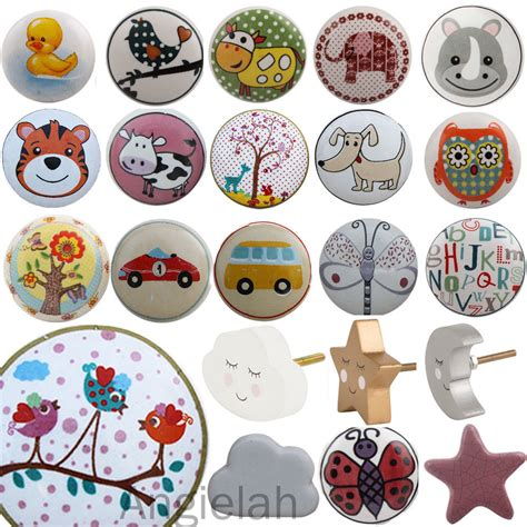 childrens ceramic door knobs animal handles cupboard