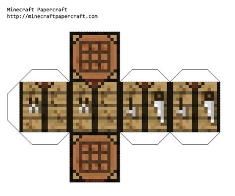 Minecraft Papercraft Items - crafting table papercraft you can make it bigger and