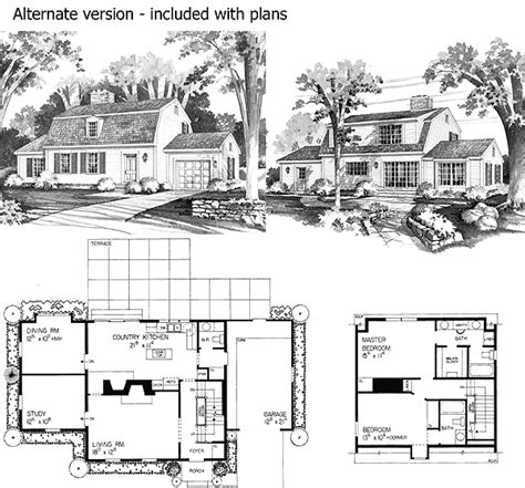 gambrel roof house floor plans charming gambrel colonial in two versions 81136w 2nd