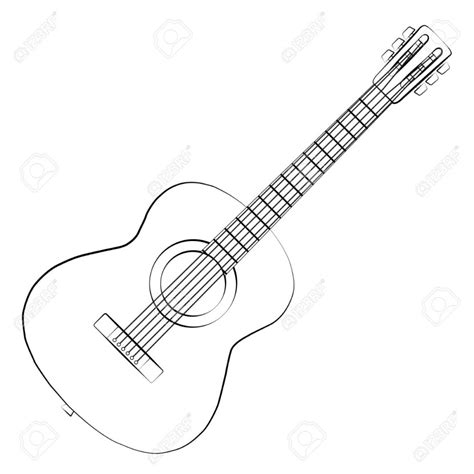 Acoustic Guitar Outline Drawing by Guitar Outline Clipartion