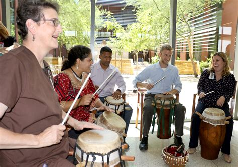 rhythm wellness drum circle beating cancer one drum rhythm at a time asu now
